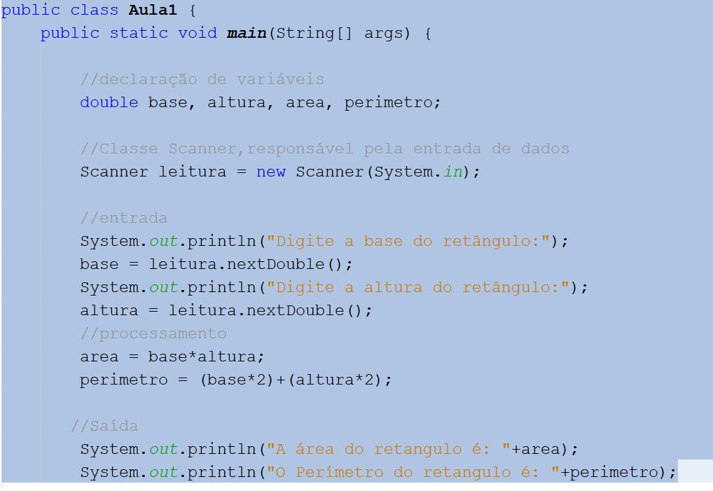 Calcular área do Retângulo Java